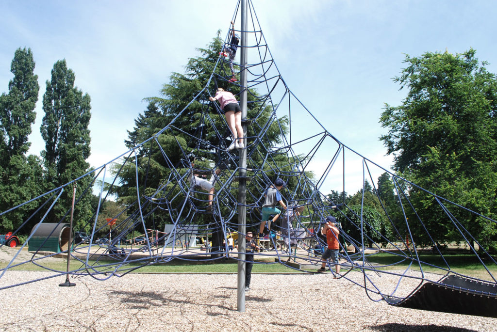 A great road trip stop at this challenging rope climbing frame at the Ashburton Domain Playground, Ashburton, New Zealand // Backyard Travel Family