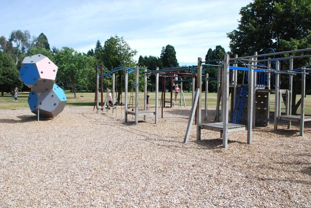 Great playground suitable for all ages, with a great range of activities including large climbing frames and tractors. Ashburton Domain Playground // Backyard Travel Family