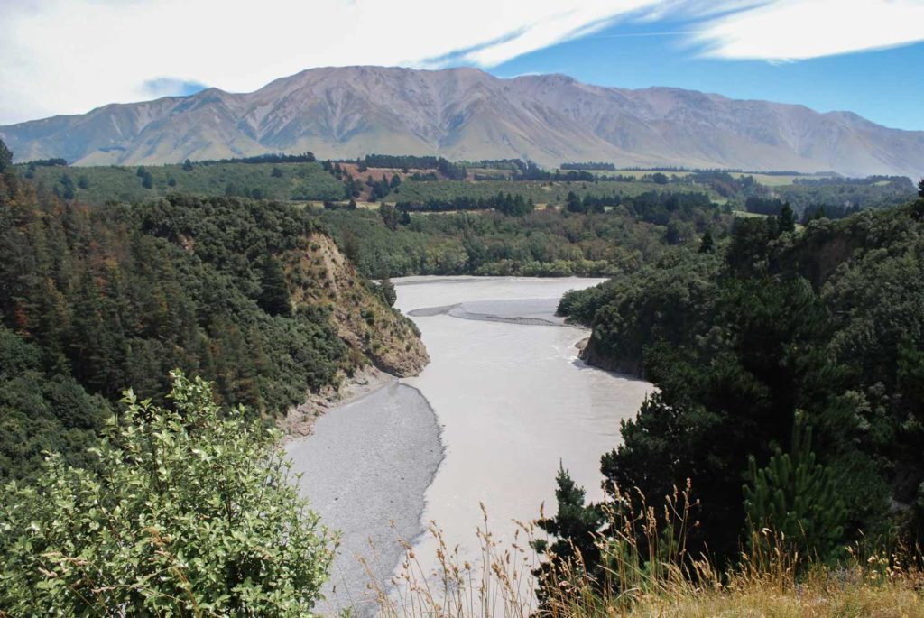 Rainfall overnight means no blue water at the Rakaia Gorge Walkway Lookout near Methven // Backyard Travel Family