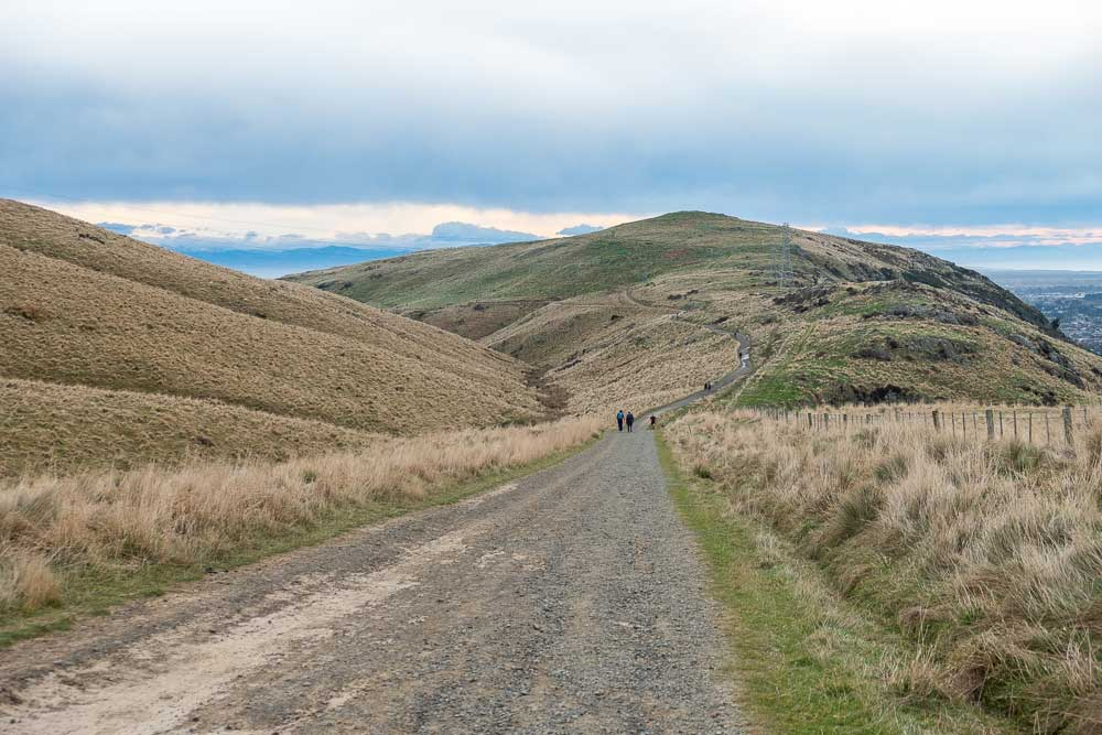 Looking down the hill towards Christchurch City from the Rapaki Track, Canterbury, New Zealand