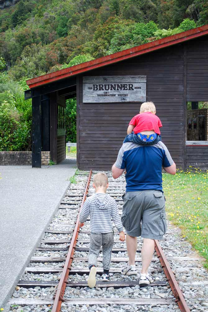 Visiting the Brunner Mine memorial, free family activity and historical site, West Coast, New Zealand