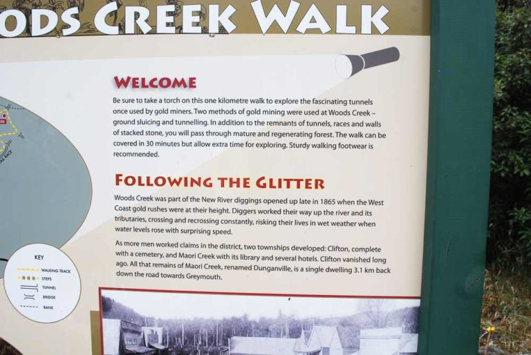 Learn about the gold mines at Woods Creek Walk (short walk) Greymouth, New Zealand I Backyard Travel Family