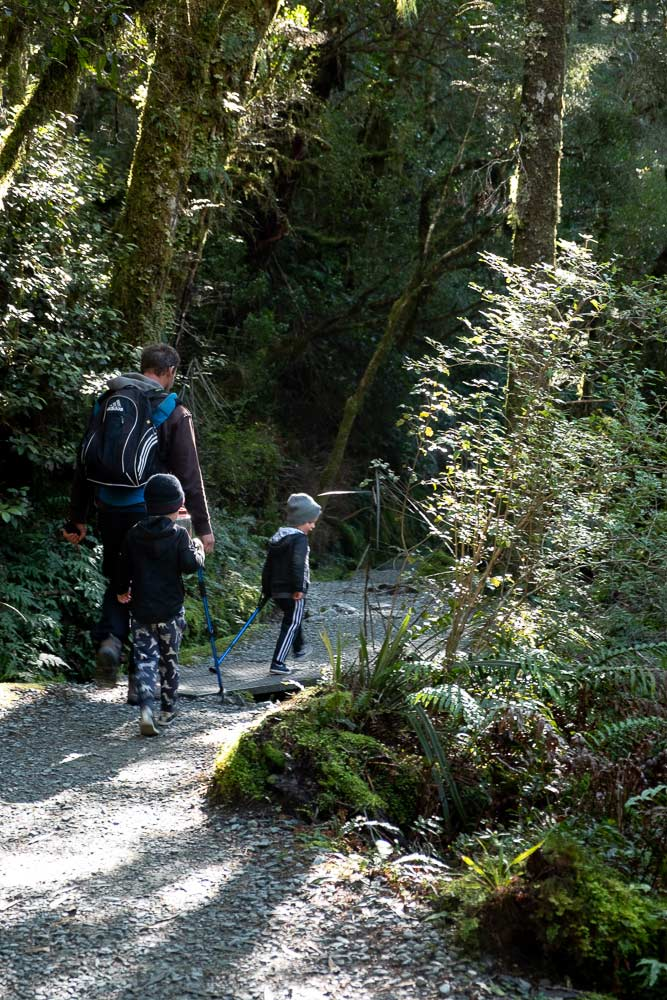 Backyard Travel Family start the Lake Marian Track, a great half day walk in Fiordland to a majestic alpine lake. by Backyard Travel Family