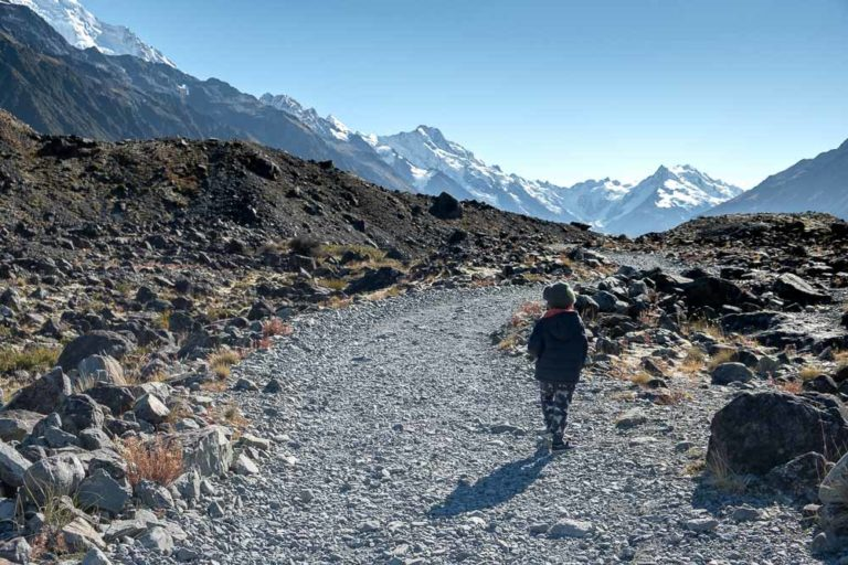 Kipton from Backyard Travel Family check out the track on the Tasman Glacier Lake Walk, Short walk in Mt Cook National Park, perfect family walk with kids