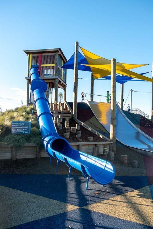 Awesome slides for all ages at Foster Park Playground, Christchurch, New Zealand