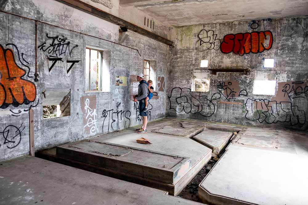 Graffiti Art inside the old WWII buildings on the Godley Head Track, Family Walk, Christchurch, New Zealand