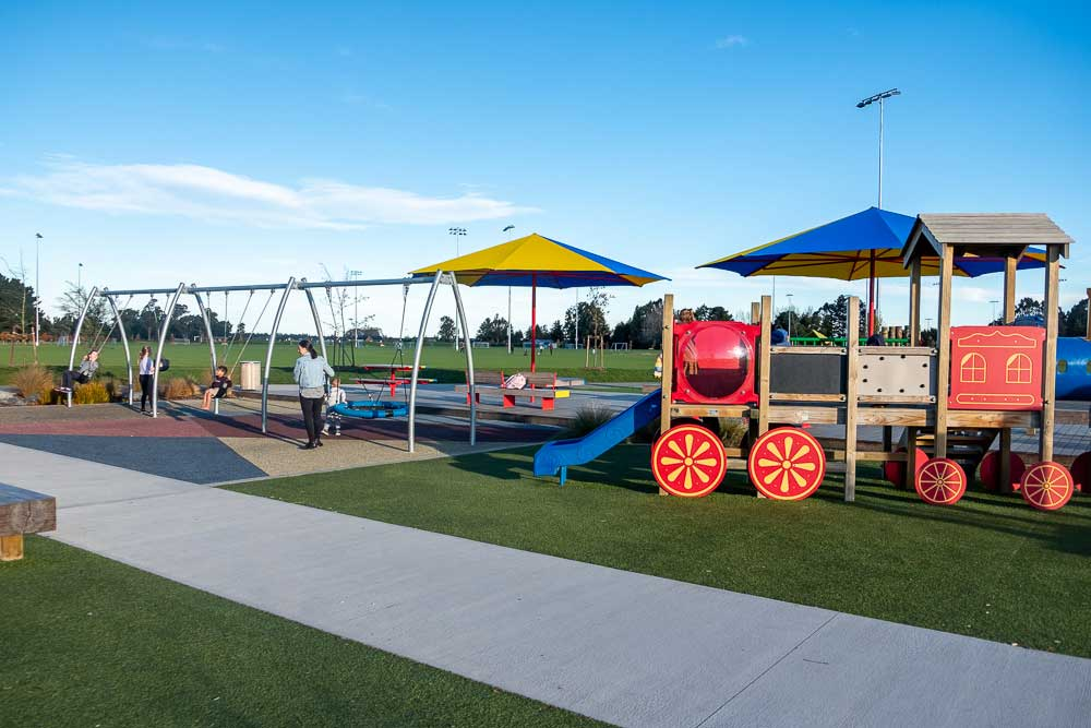 Awesome toddlers train playground at Foster Park Playground, Christchurch, Canterbury