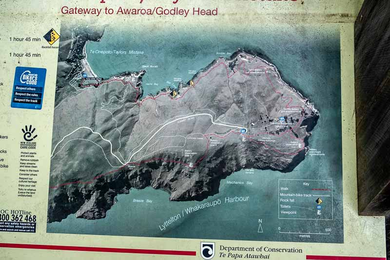 Map of the Godley Heads Track, Christchurch, New Zealand