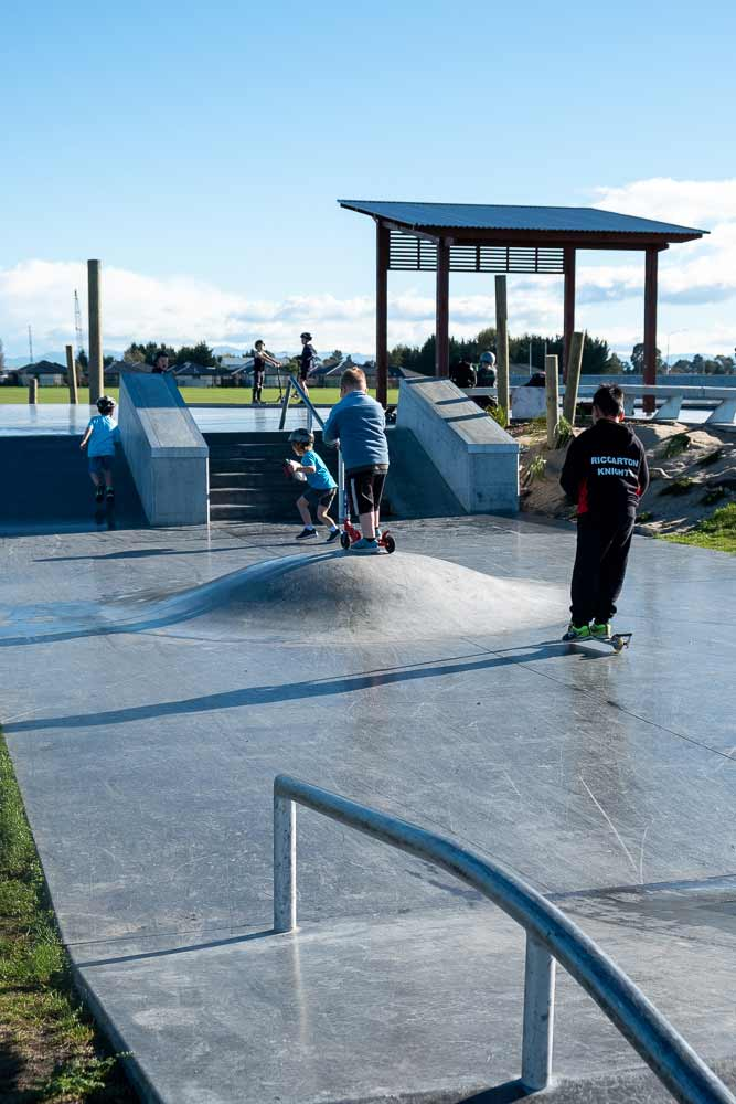 Jumps and rails at the scooter park, Knights Stream Park, Halswell, the best place for scooters in Christchurch