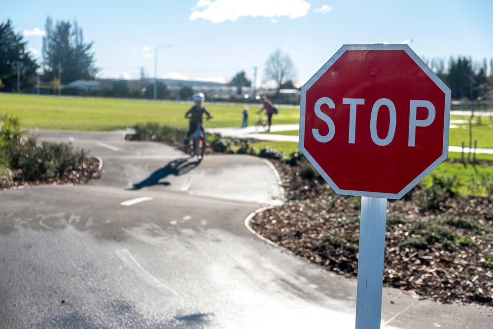 Stop sign at the bike park at Knights Stream Park, Halswell, Christchurch, New Zealand