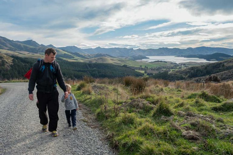 Kipton and Ashley walk on the Gebbies Pass to Packhorse Hut Track, overlooking Lyttelton Harbour and Banks Peninsula, Christchurch, New Zealand