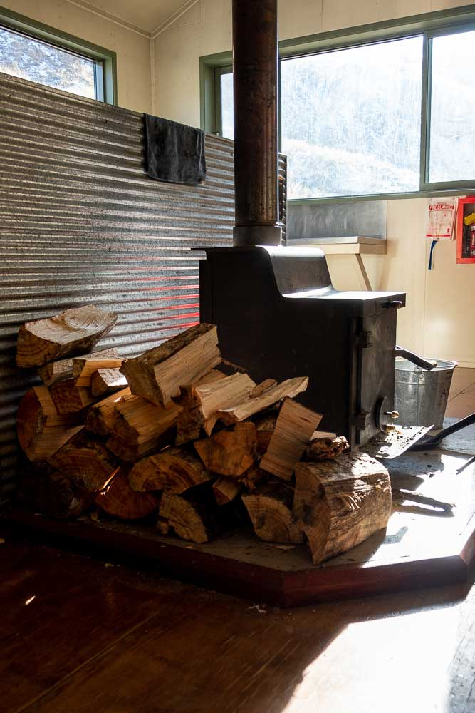 Firewood is available for the log burner at Woolshed Creek Hut, Mt Somers Track. Warm and cosy, just don't forget your matches.