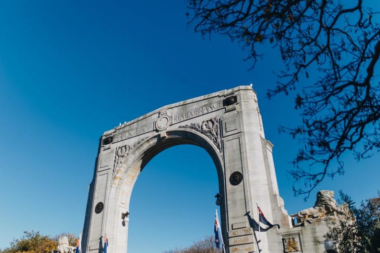 Bridge of Remembrance on a beautiful clear blue Canterbury Day