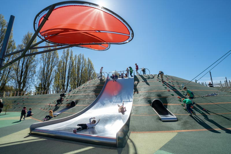 Slide at Margaret Mahy Playground, one of the best free things to do in Christchurch with kids