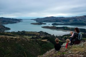 Backyard Travel Family overlook the Lyttelton Harbour from the Sign of the Bellbird, Christchurch, New Zealand