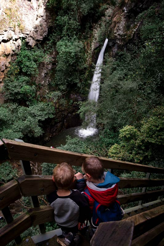 Nathan and Kipton from Backyard Travel Family look down from the staircase at the beautiful Canterbury Waterfall that is Washpen Falls