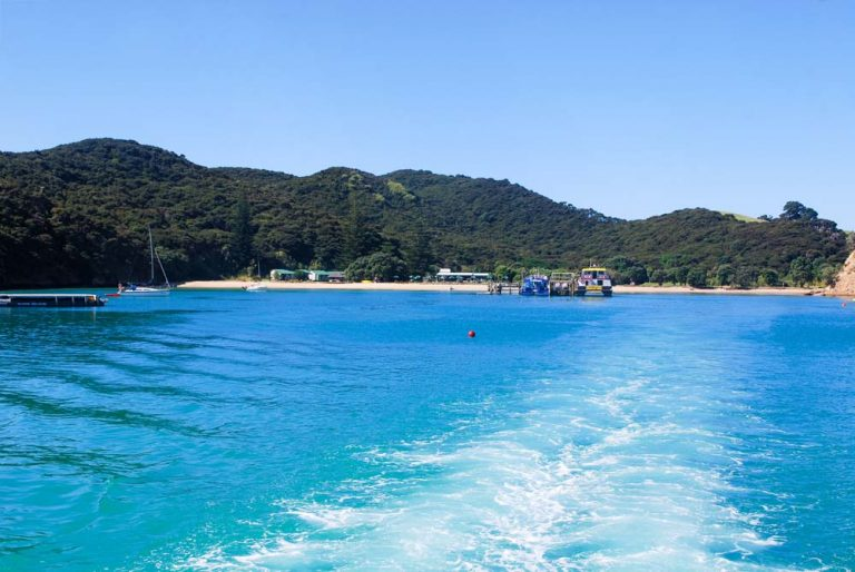 View of Otehei Bay on Urupukapuka Island from the Explore Boat in the Bay of Islands