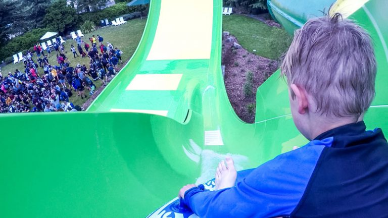Nathan about to hit the large downhill on the new Conical Thrill Waterslide, Hanmer Springs