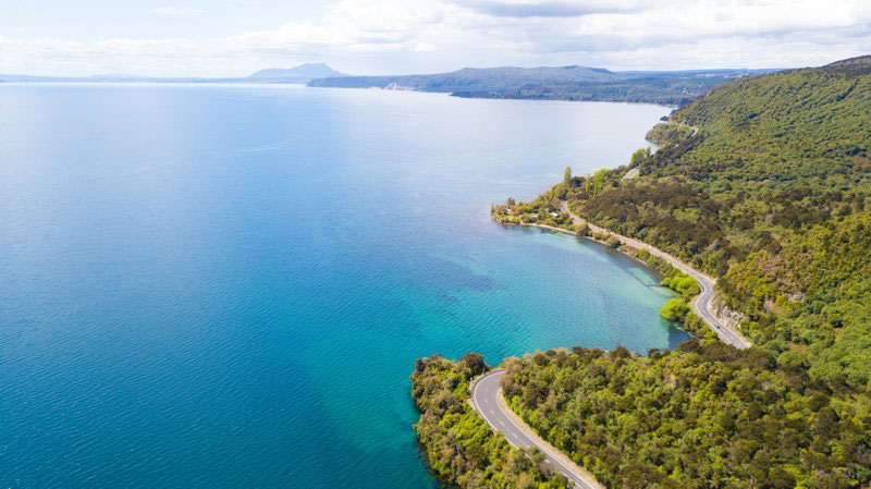 Drone view of Lake Taupo, a great day trip from Rotorua
