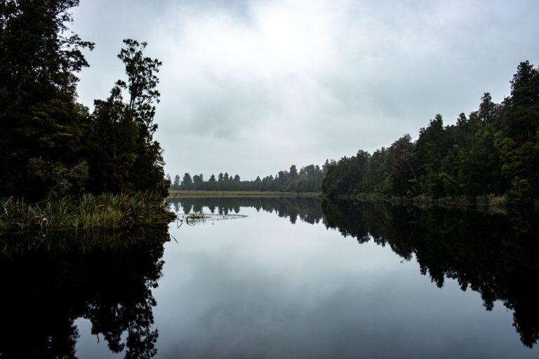 Beautiful reflections views of Lake Matheson, from the Lake Matheson walk, near Fox Glaicer, West Coast, New Zealand