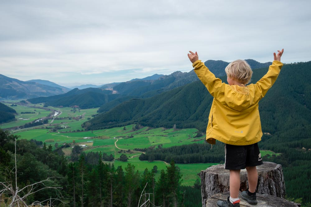 Kipton from Backyard Travel Family looking over the Marlborough view near the top of the Trig K track at Pelorus Bridge