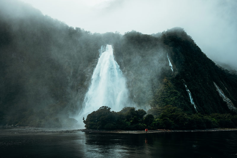 Explosive waterfall in Milford Sound after a huge rainfall