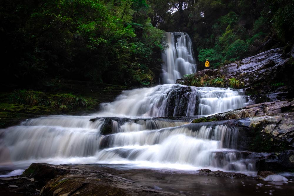 Long exposure photography of McLean Falls, NZ