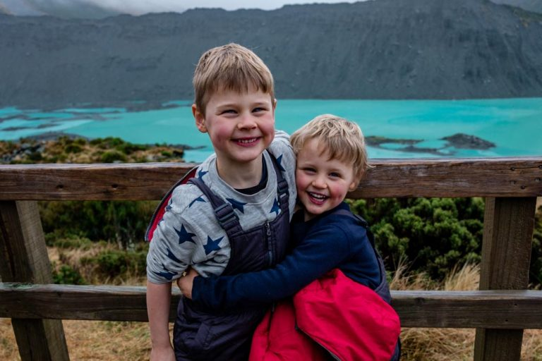 Cute smiles from Nathan and Kipton at the Kea Point Track Viewpoint, overlooking the beautiful Mueller Lake