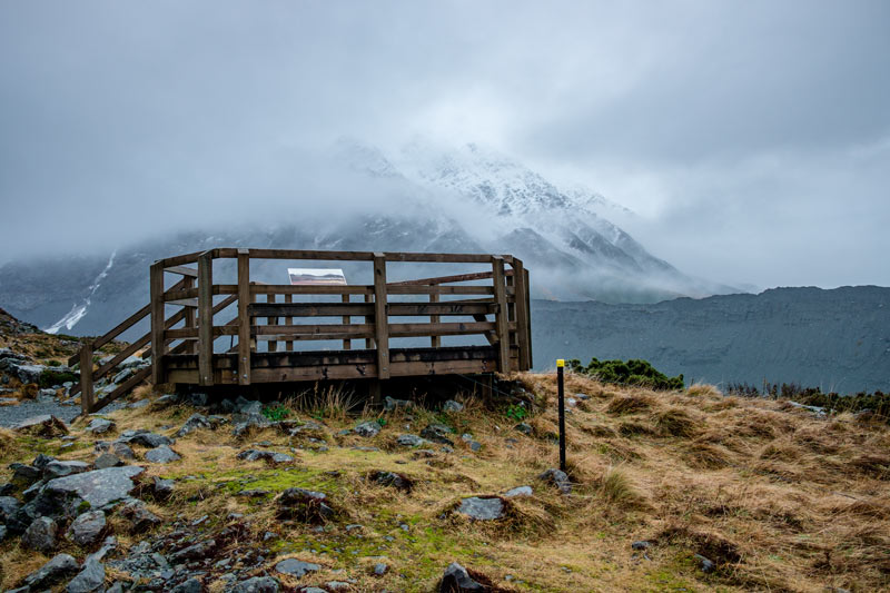 Lookout platform at the end of the Kea Point Track