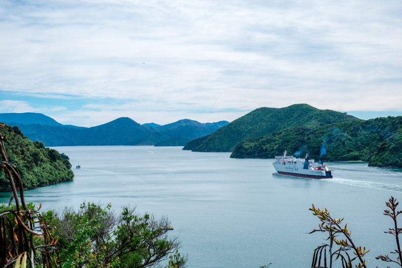 Marlborough Sounds view of Picton Ferry from PIcton Viewpoint