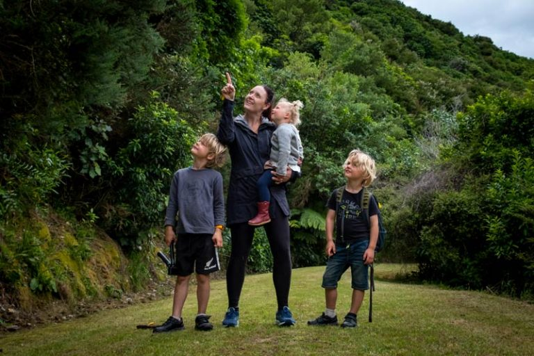 Family look at the native birds at the Kaipupu Wildlife Sanctuary, Picton, NZ