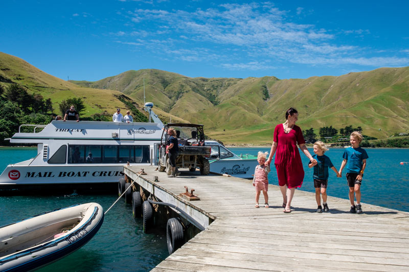 Backyard Travel Family get out the Beachcomber Cruises Picton Mailboat in the Marlborough Sounds, NZ