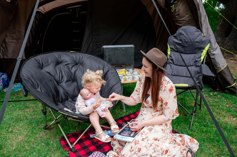 Camping setup with Zempire Moonbase chair and Zempire stargazer chair