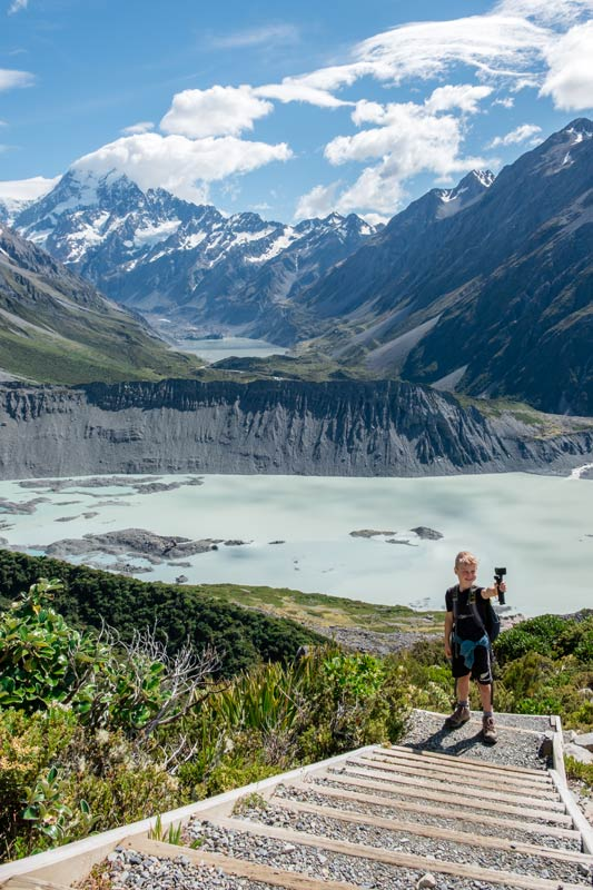 Nathan lines up his GoPro Hero9 Black as he takes a selfie on the Sealy Tarns Track with Mt Cook in behind