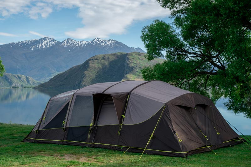 A tent is a must have camping checklist item - Zempire Aero TXL Pro tent beside Lake Wanaka at the Glendhu Bay, Campsite