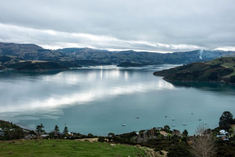 Beautiful view of the blue water of Akaroa Harbour
