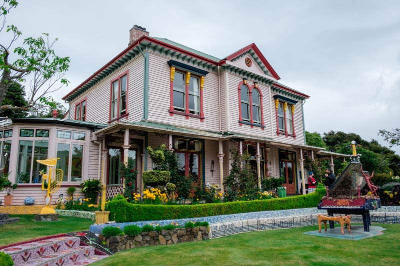One of the most unique Akaroa New Zealand things to do, the Giants House, an old colonial home with outdoor art gallery