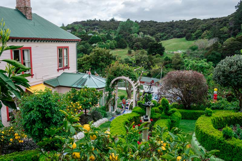 View of the Giants House Akaroa gardens from the top of the garden. Lush and green and full of wonder. It is a must do Akaroa activities attraction