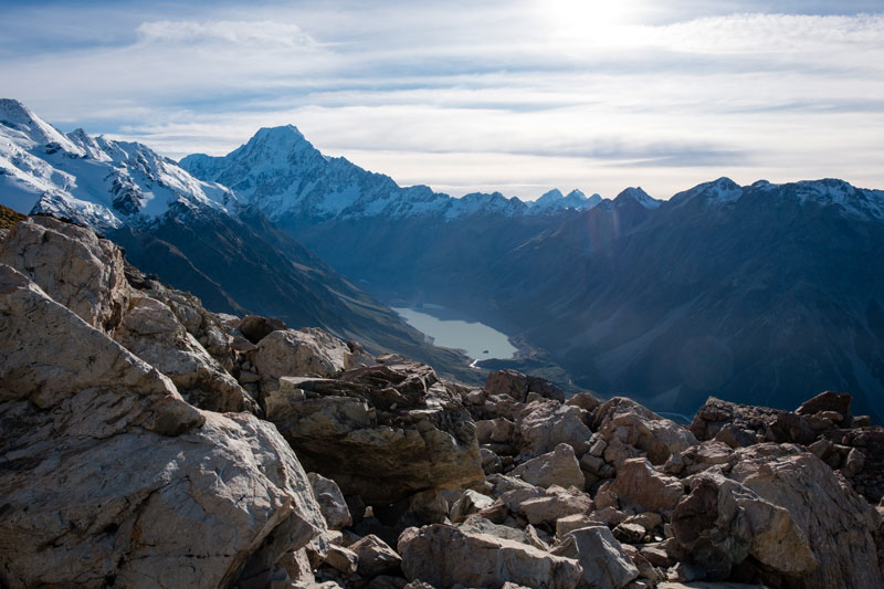 View of Aoraki Mt Cook from the Mueller Hut Hike