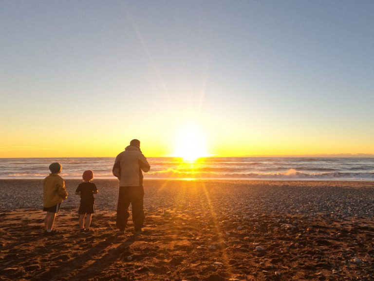 Sunset at Gillespies Beach on the West Coast NZ