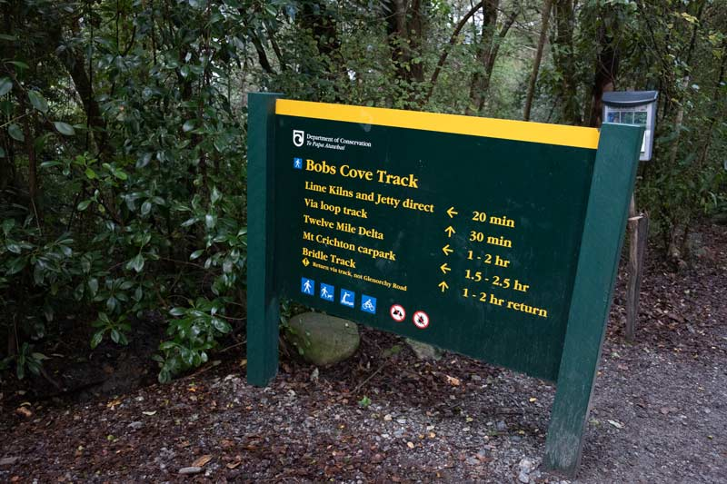 Sign at Bobs Cove Track, Queenstown walk
