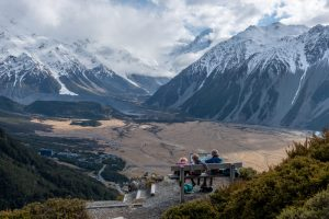 Red Tarns Track viewpoint, overlooking Aoraki Mt Cook, New Zealand's highest mountain and Mt Cook village